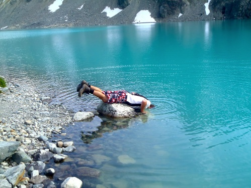 It was a hot day, so dipping in the glacier lake was refreshing.  Definitely didn't need long in there though.